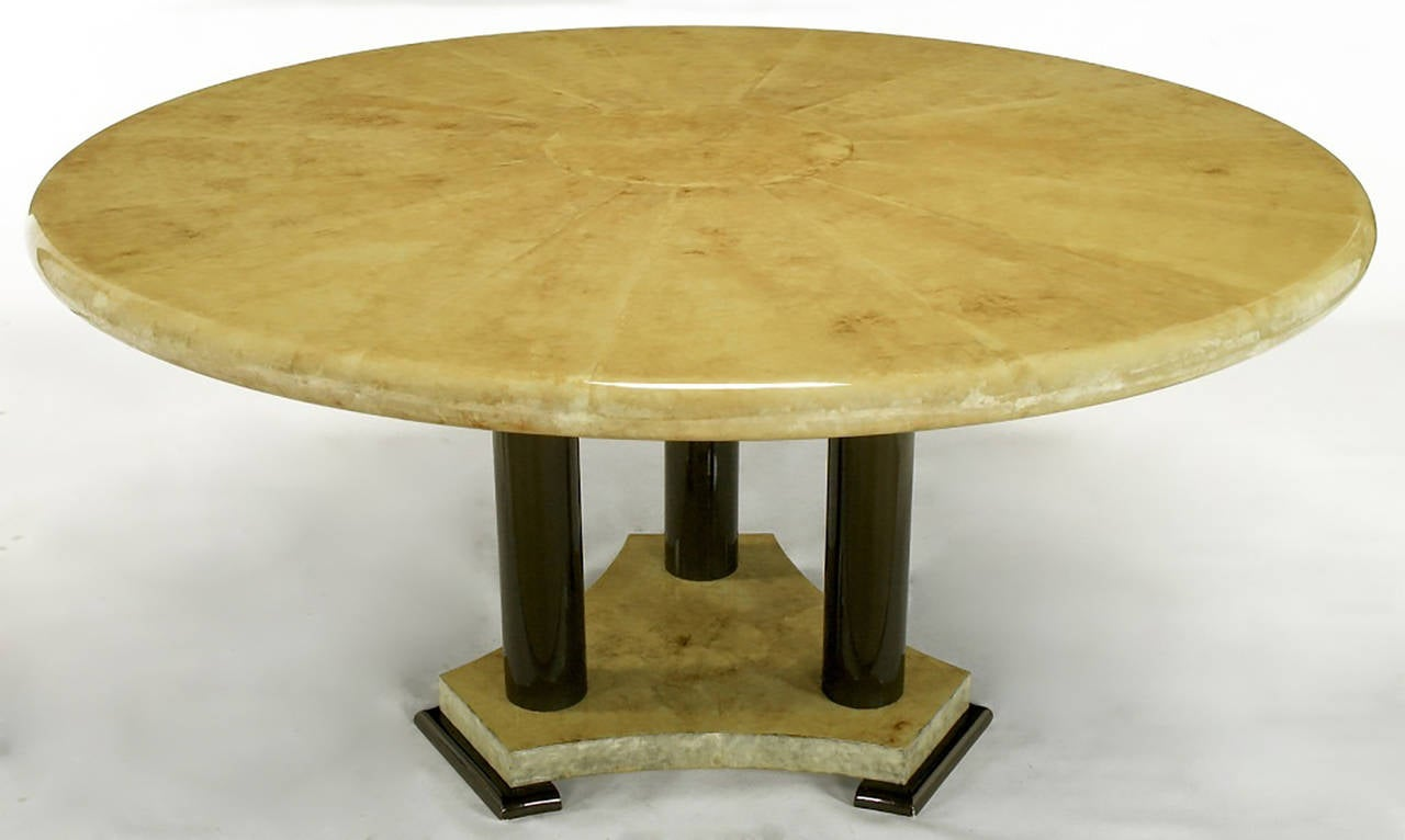 American Empire Dining Table with Sunburst Goatskin Top and Chocolate Lacquer Base For Sale