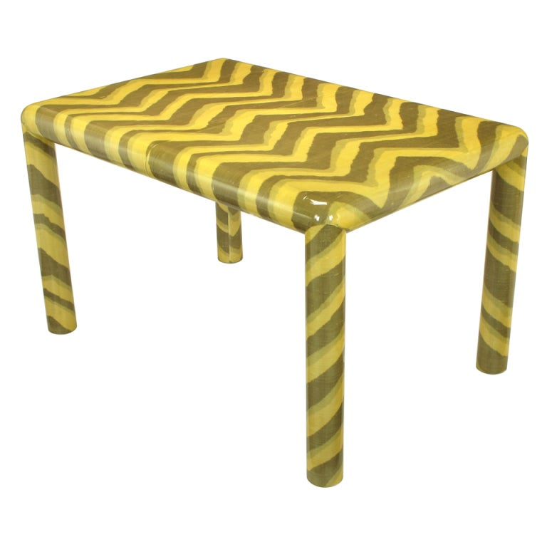 karl springer attr lacquered ikat cloth dining table at