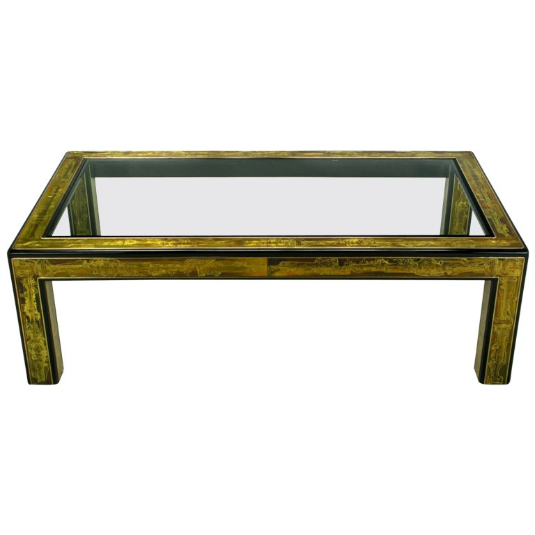 Bernhard Rohne Mastercraft Acid Etched Brass Coffee Table For Sale