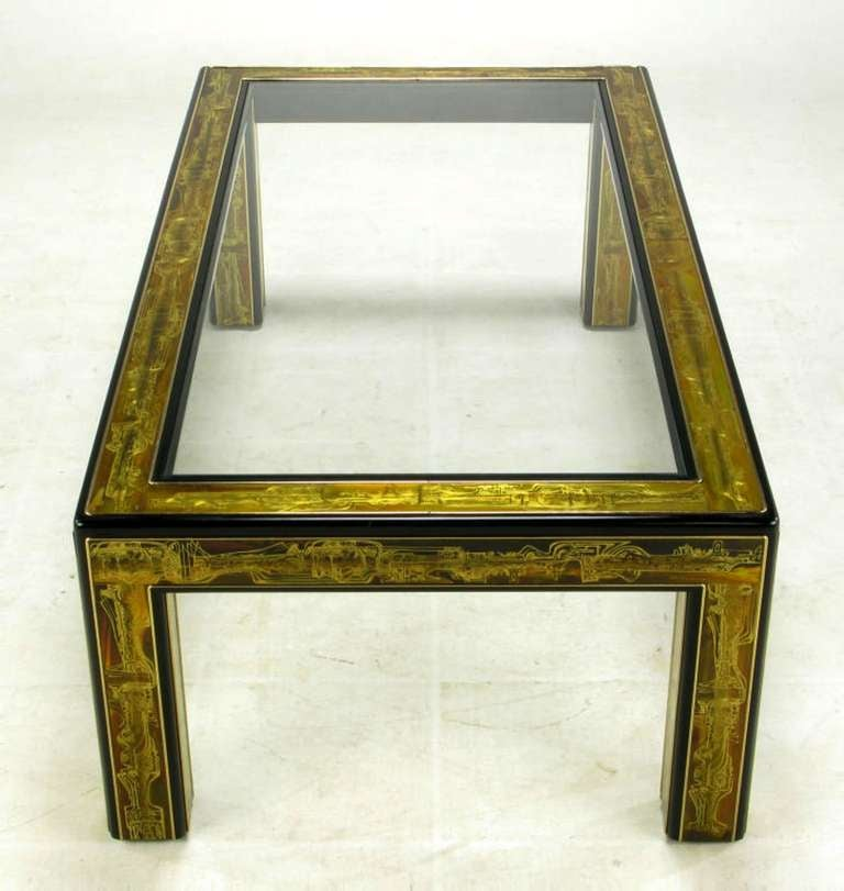 Late 20th Century Bernhard Rohne Mastercraft Acid Etched Brass Coffee Table For Sale