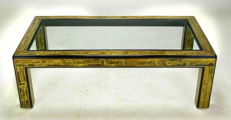 Bernhard Rohne Mastercraft Acid Etched Brass Coffee Table In Excellent Condition For Sale In Chicago, IL