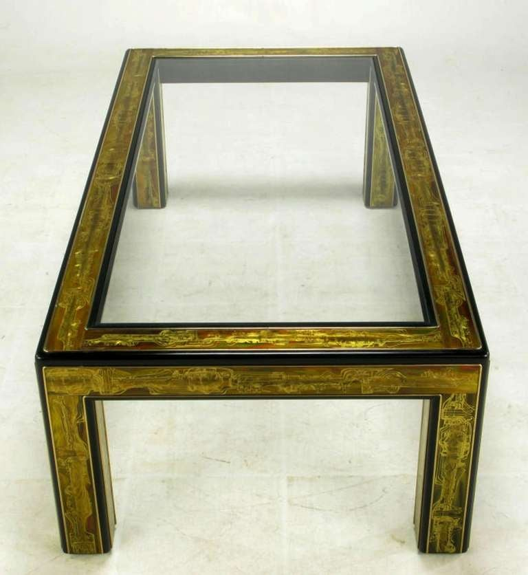 American Bernhard Rohne Mastercraft Acid Etched Brass Coffee Table For Sale