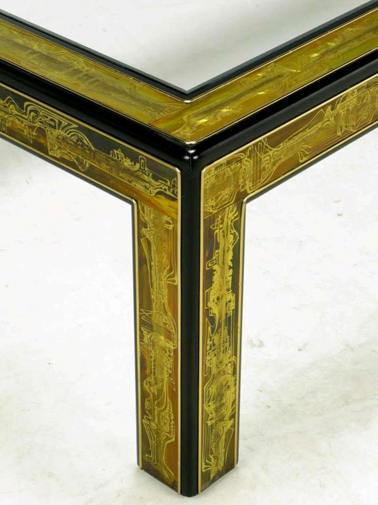 Wood Bernhard Rohne Mastercraft Acid Etched Brass Coffee Table For Sale