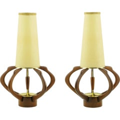 Pair of Sculptural Teak and Brass Melon-Form Table Lamps