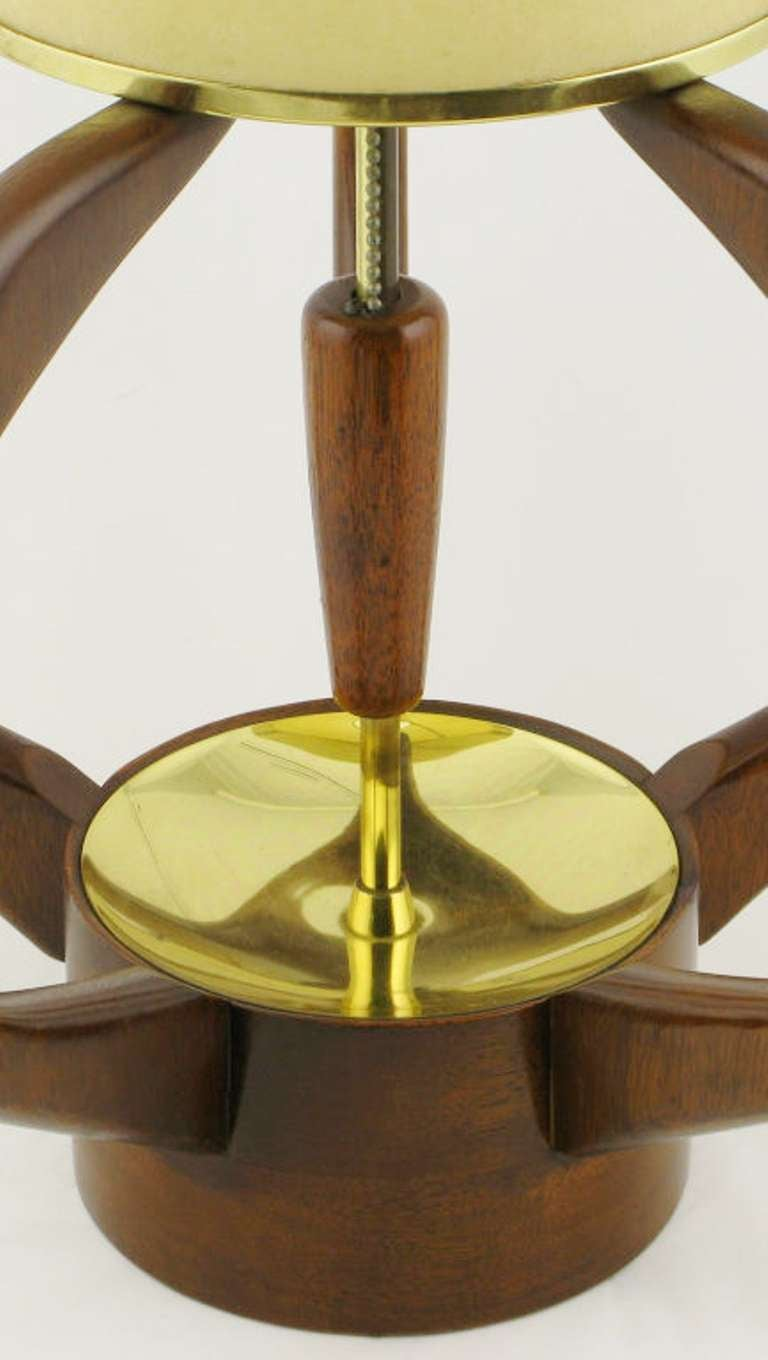 Pair of Sculptural Teak and Brass Melon-Form Table Lamps In Excellent Condition For Sale In Chicago, IL