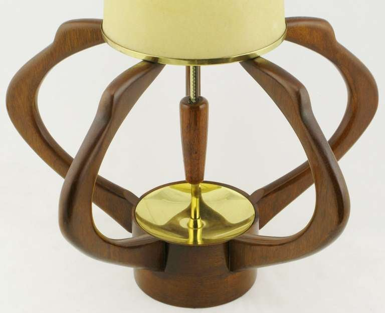 American Pair of Sculptural Teak and Brass Melon-Form Table Lamps For Sale