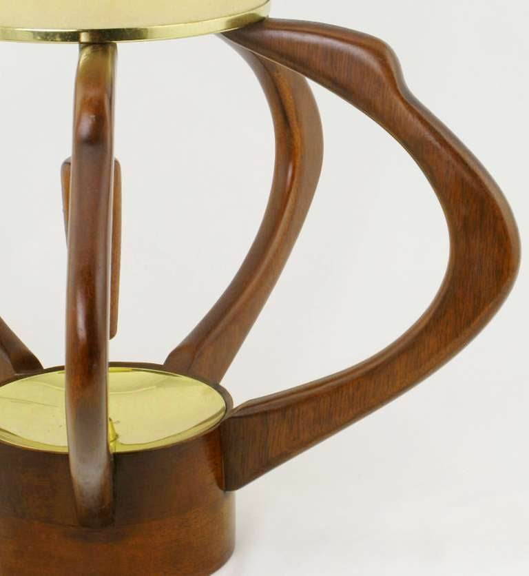 Mid-20th Century Pair of Sculptural Teak and Brass Melon-Form Table Lamps For Sale