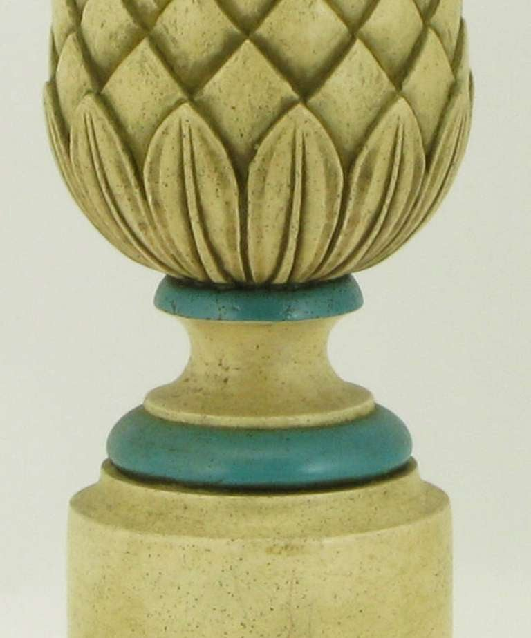 Pair of 1940s Cream and Blue Gesso Pineapple Table Lamps For Sale 1