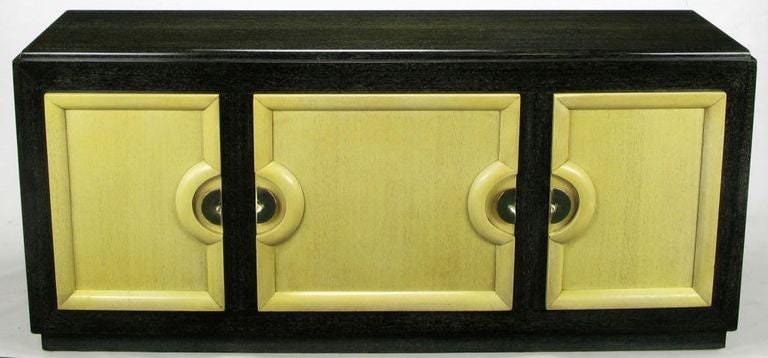American Sleek Black & Ivory Cerused Mahogany Long Cabinet For Sale