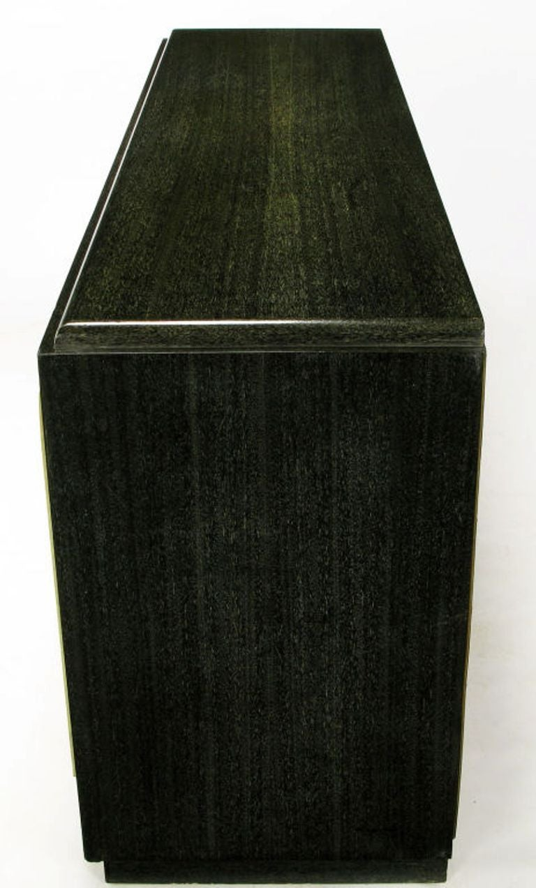 Sleek Black & Ivory Cerused Mahogany Long Cabinet In Good Condition For Sale In Chicago, IL