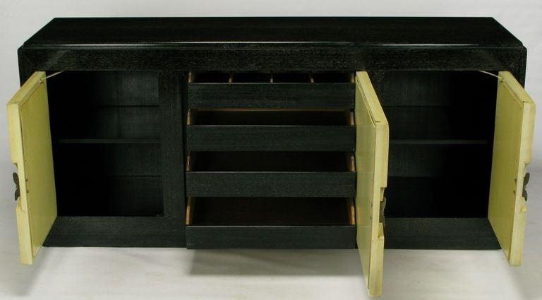 Mid-20th Century Sleek Black & Ivory Cerused Mahogany Long Cabinet For Sale