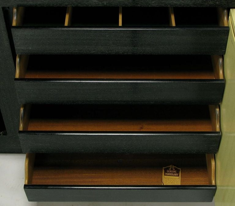 Brass Sleek Black & Ivory Cerused Mahogany Long Cabinet For Sale