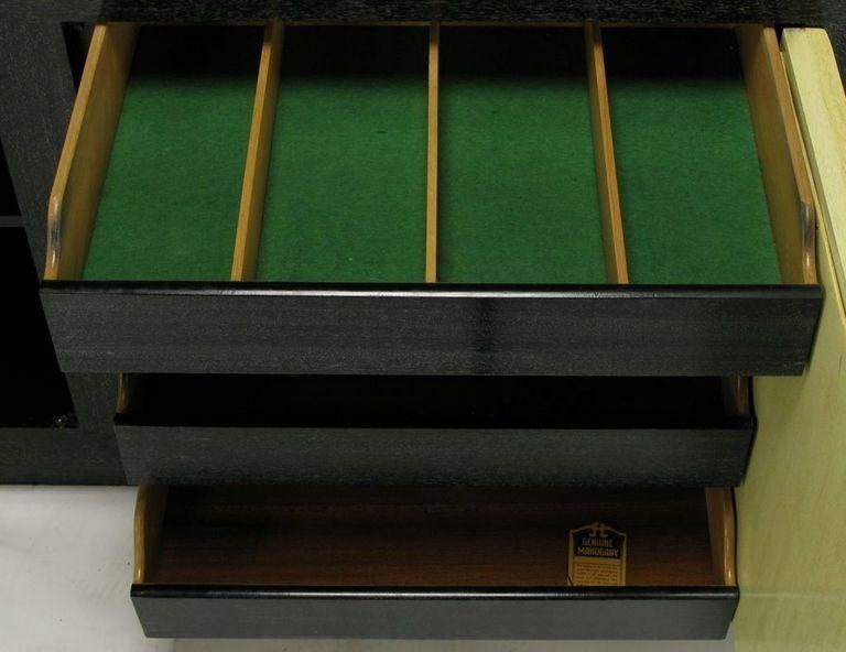 Sleek Black & Ivory Cerused Mahogany Long Cabinet For Sale 1