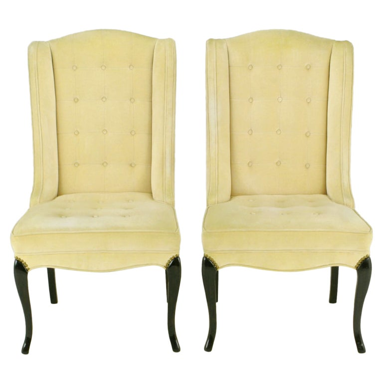 Pair of 1940s Creamy Velvet Button Tufted Slipper Chairs For Sale
