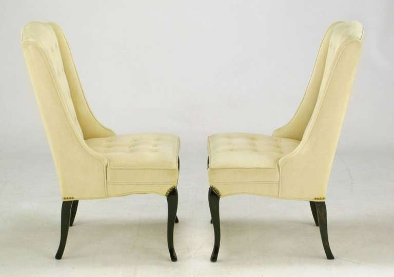 American Pair of 1940s Creamy Velvet Button Tufted Slipper Chairs For Sale