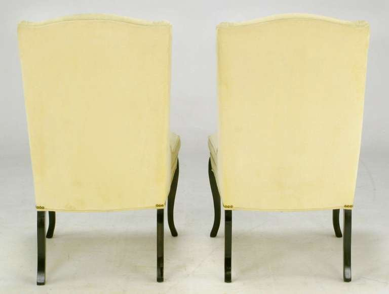 Mid-20th Century Pair of 1940s Creamy Velvet Button Tufted Slipper Chairs For Sale