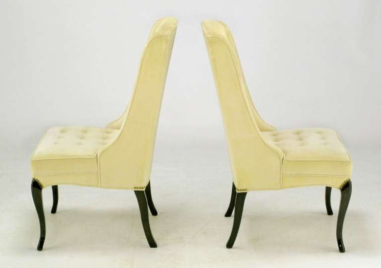 Pair of 1940s Creamy Velvet Button Tufted Slipper Chairs For Sale 4