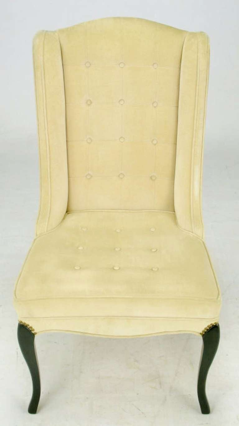 Pair of 1940s Creamy Velvet Button Tufted Slipper Chairs For Sale 1
