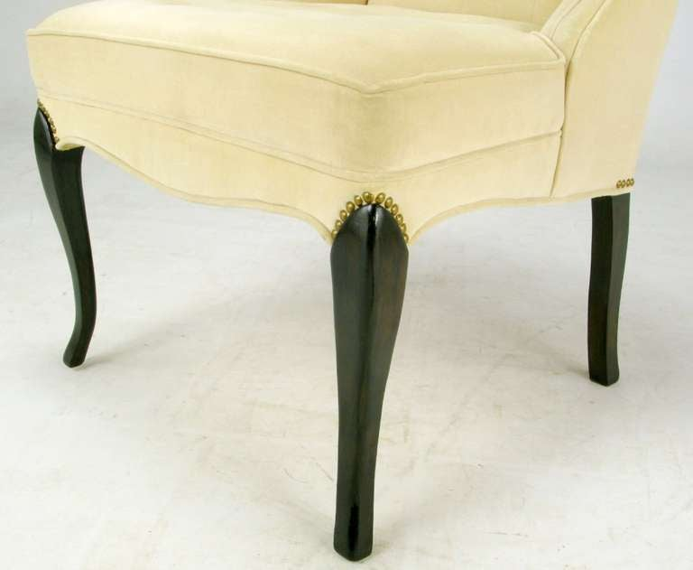 Pair of 1940s Creamy Velvet Button Tufted Slipper Chairs For Sale 3