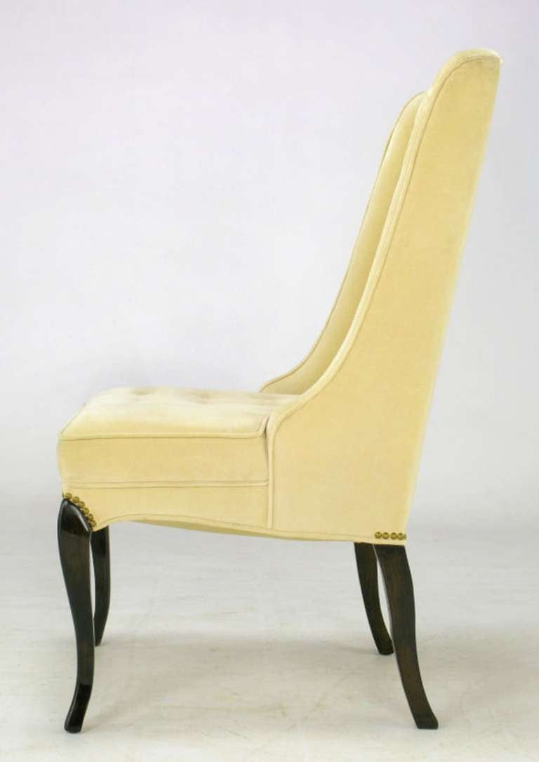 Pair of 1940s Creamy Velvet Button Tufted Slipper Chairs For Sale 2