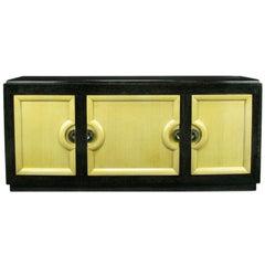 Sleek Black & Ivory Cerused Mahogany Long Cabinet