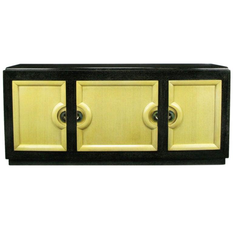 Sleek Black & Ivory Cerused Mahogany Long Cabinet For Sale