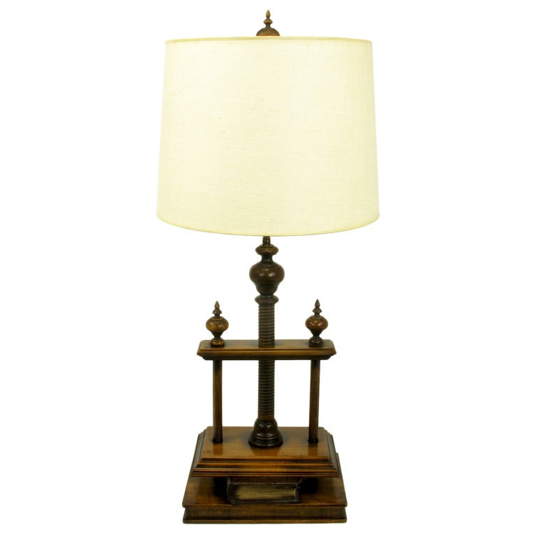 Walnut And Fruitwood Book Press Table Lamp For Sale At 1stdibs