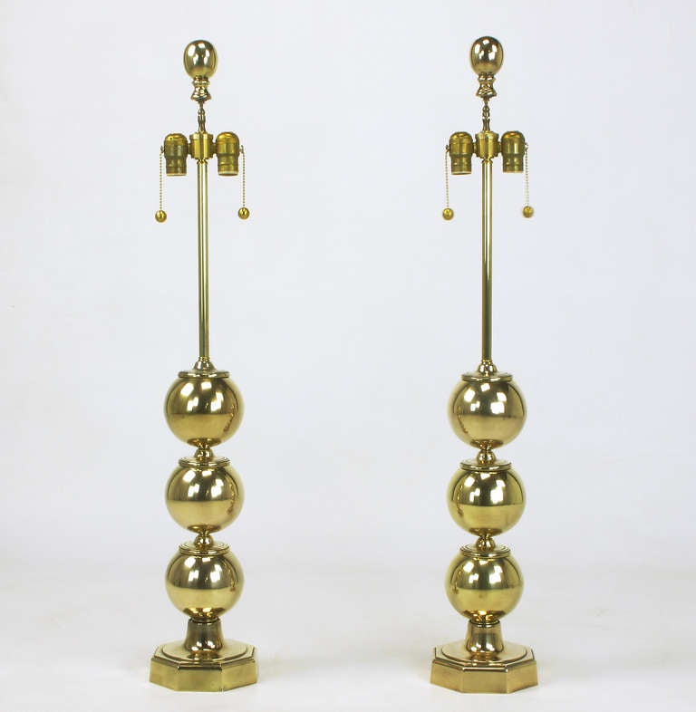 American Pair of Stacked Brass Ball Table Lamps For Sale