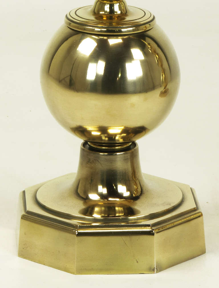 Pair of Stacked Brass Ball Table Lamps For Sale 1