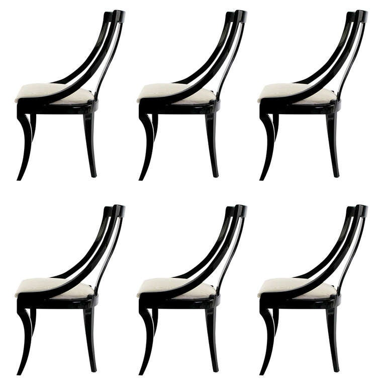 Six Italian Black Lacquer Moire Dining Chairs 1