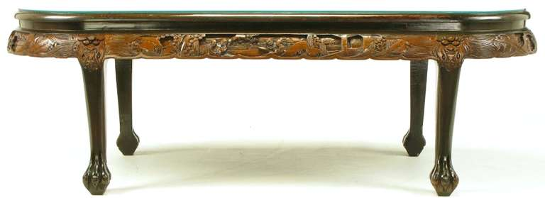 Chinese Oval Coffee Table with Hand-Carved Battle Scene and Six Stools For Sale 2