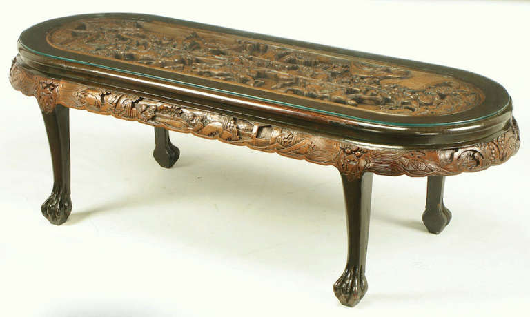 American Chinese Oval Coffee Table With Hand Carved Battle Scene And Six Stools For