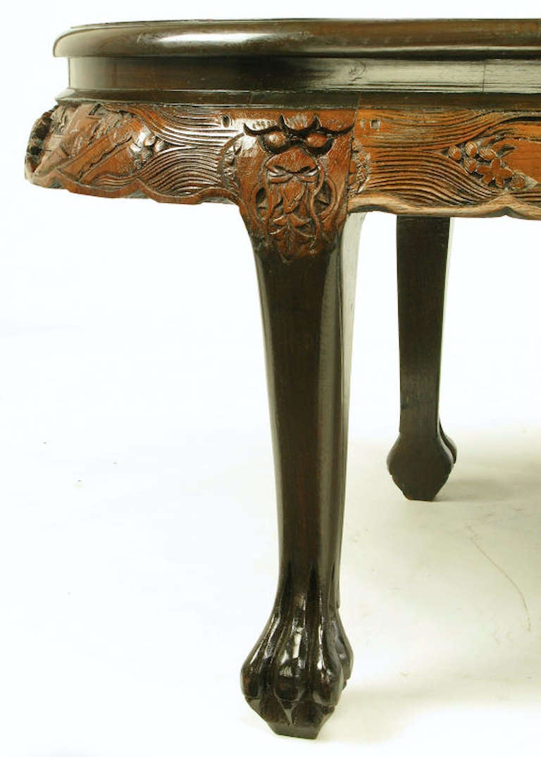 Chinese Oval Coffee Table With Hand Carved Battle Scene And Six Stools At 1stdibs