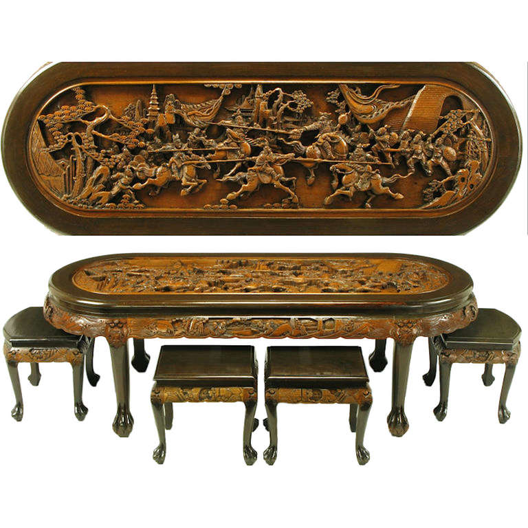 chinese oval coffee table with hand carved battle scene. Black Bedroom Furniture Sets. Home Design Ideas