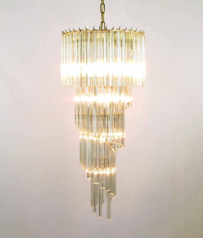 Murano Spiral Chandelier: Elegant Spiral Venini Crystal Chandelier At 1stdibs