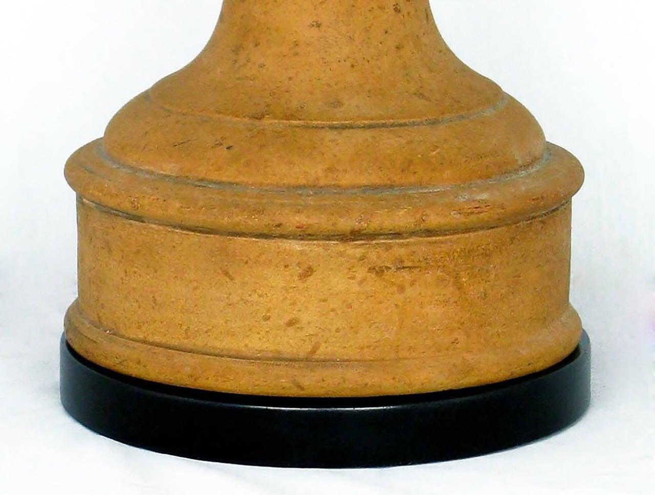 Metal Pair of Italian Terracotta Ram's Head Table Lamps For Sale