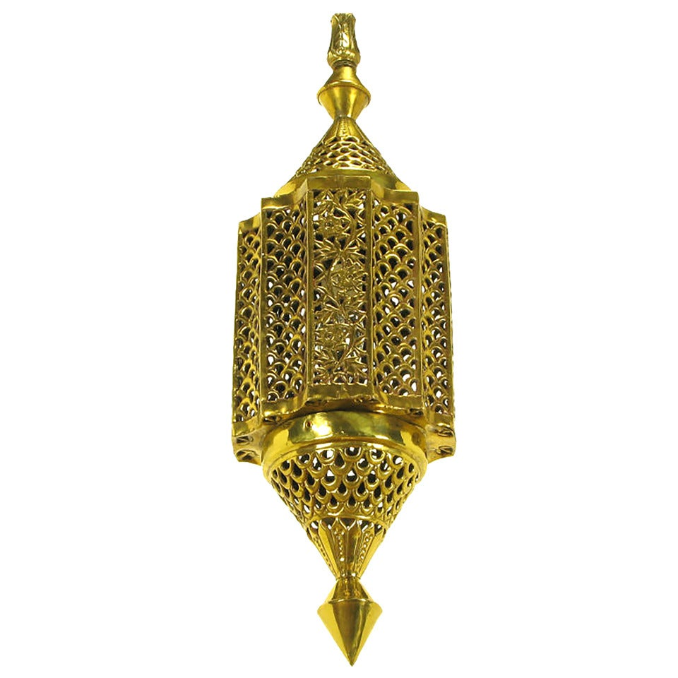 Moroccan Pendant Light Style Reticulated Brass At 1stdibs