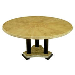 Empire Dining Table with Sunburst Goatskin Top and Chocolate Lacquer Base