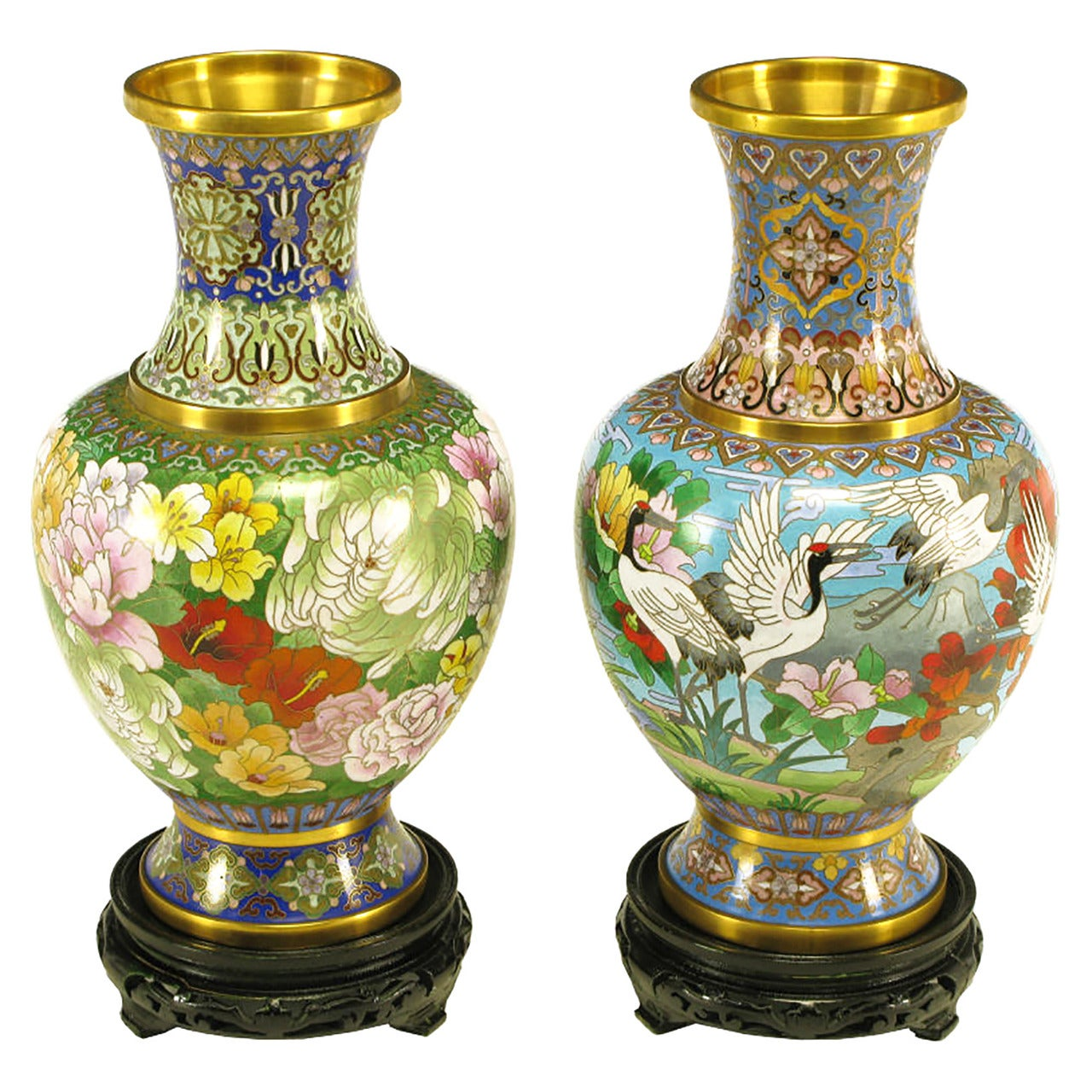 Pair of Colorful Chinese Jingfa Cloisonné Vases with Carved Mahogany Bases
