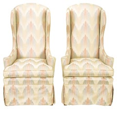 Pair of Petite Skirted Wing Chairs