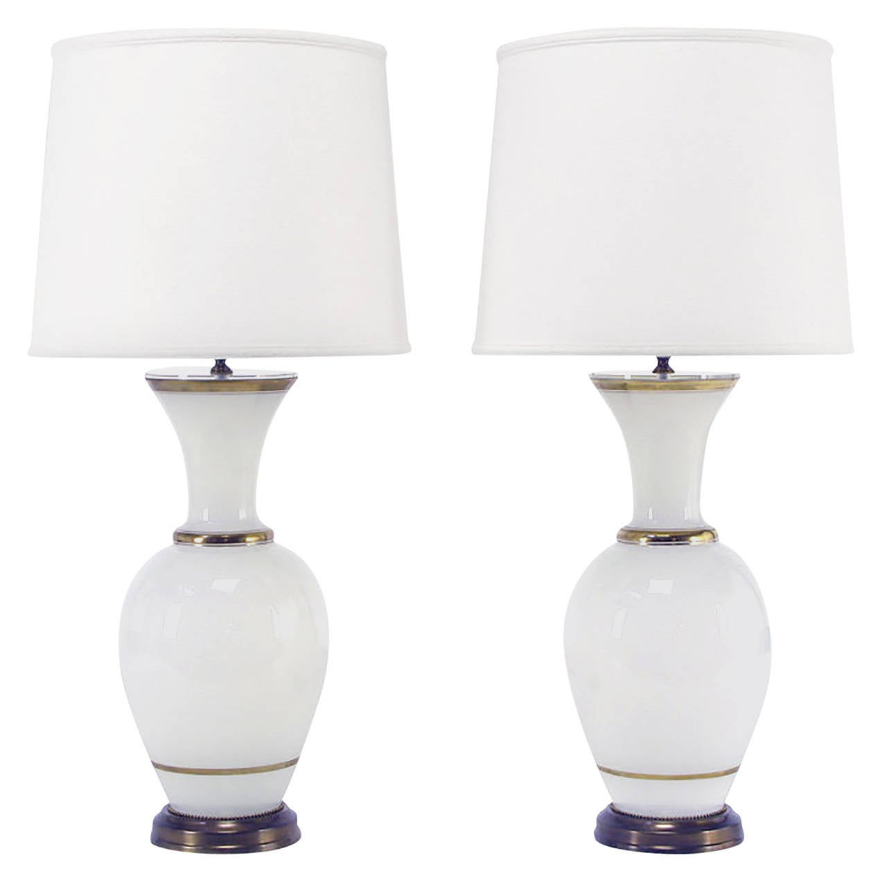 Pair Of Frederick Cooper Gilt And White Milk Glass Table Lamps For