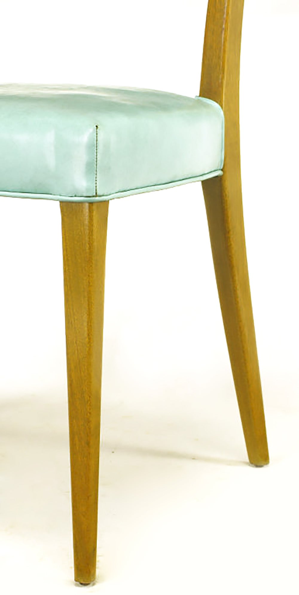 Cane Harvey Probber Tiffany Blue Leather And Mahogany Side Chair For Sale