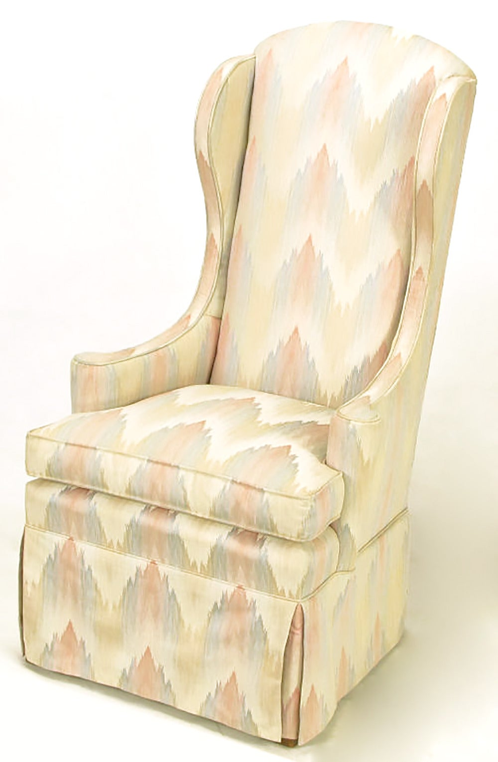American Pair of Petite Skirted Wing Chairs For Sale
