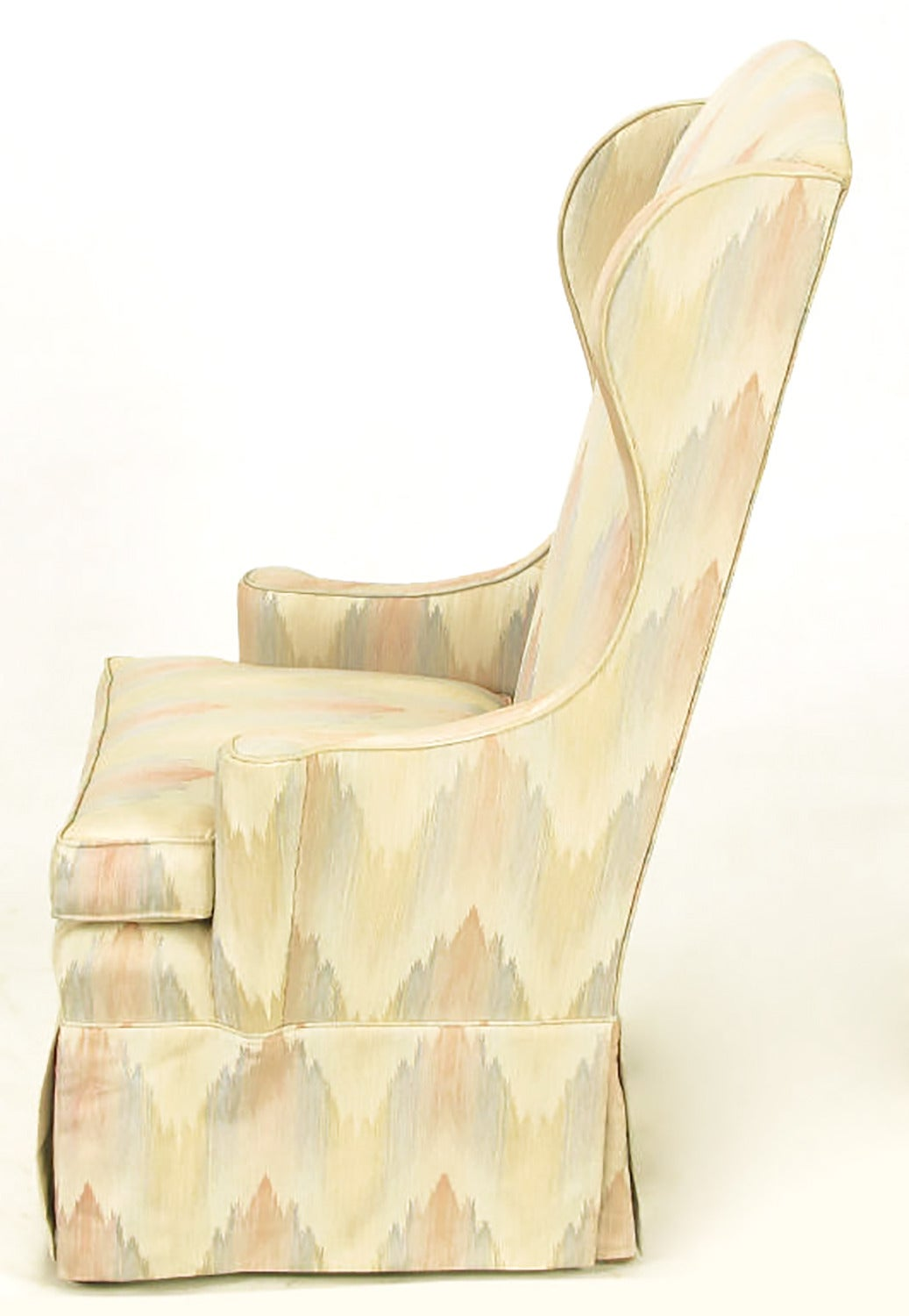 Pair of Petite Skirted Wing Chairs In Good Condition For Sale In Chicago, IL
