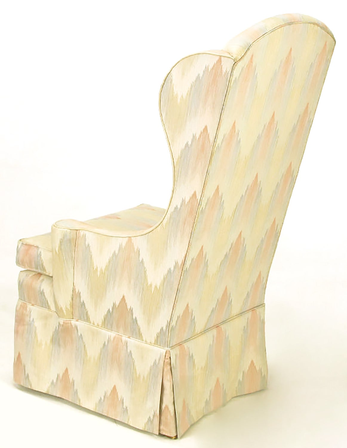 Mid-20th Century Pair of Petite Skirted Wing Chairs For Sale