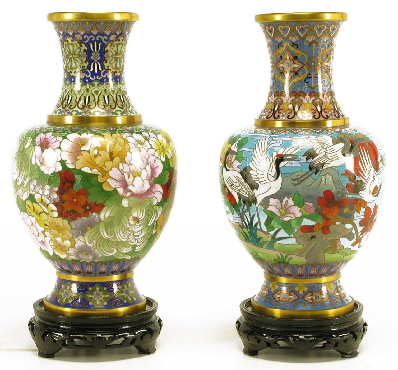Pair of colorful Chinese cloisonné vases with green and blues being the primary colors. Both have floral background designs. One vase features chrysanthemums and the other red headed herons. Made by Jingfa, award winning manufacturer of fine