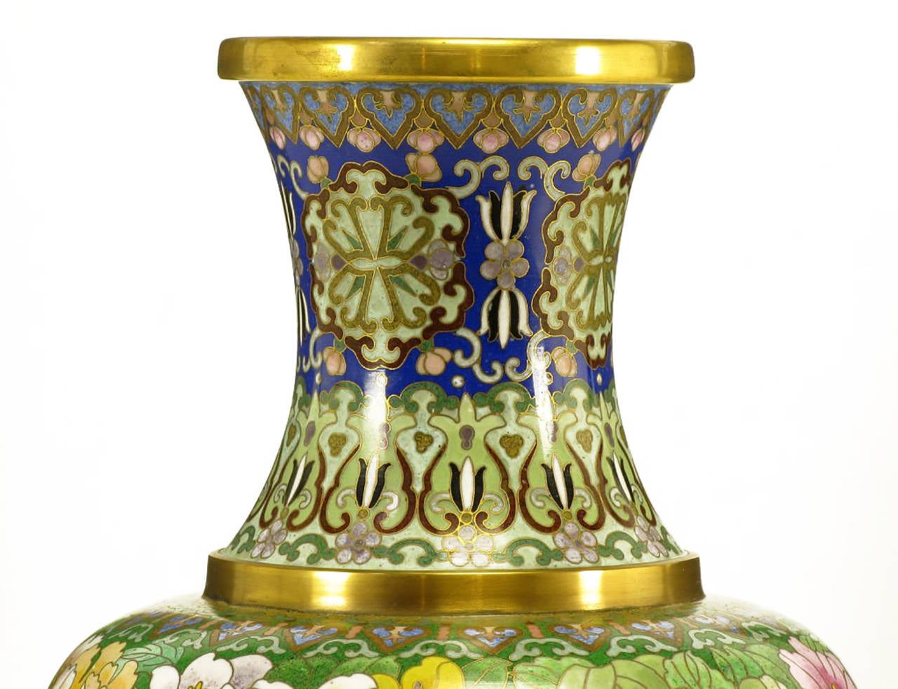 Late 20th Century Pair of Colorful Chinese Jingfa Cloisonné Vases with Carved Mahogany Bases For Sale