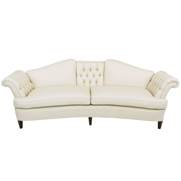 1940s Button Tufted Winter White Wool Curved Sofa At 1stdibs
