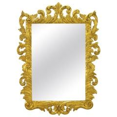 Italian Gilt Plume-Form Hand-Carved Mirror