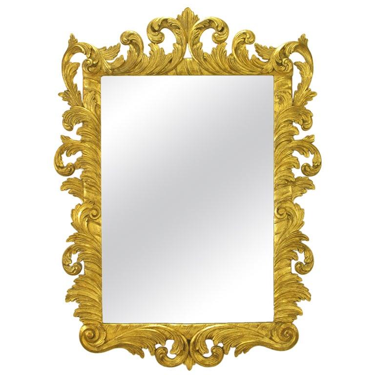 Italian Gilt Plume-Form Hand-Carved Mirror
